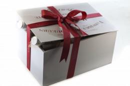 Χειροποίητο Ξύλινο Κουτί Με 2 Ερυθρά Κρασιά