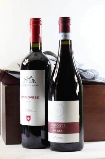 Χειροποίητο Ξύλινο Κουτί Με 2 Ιταλικά Ερυθρά Κρασιά